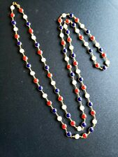 "Bezel Set Smooth Red White Blue Long 34"" Necklace Patriotic"