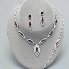 Amethyst diamante necklace bracelet earring set party bling prom bridal 0217