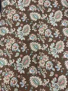 """Brown Paisley Fabric Heavy Weight Cotton 43 x 64"""" 1 3/4+ Yard Quilting Material"""