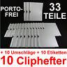10 Cliphefter Bewerbungsmappen + 10 Umschläge + 10 Etis - Weiss - Set Bewerbung