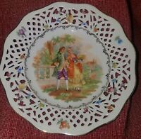 """Schumann Bavaria Dish Germany US Zone Courting Couple 7 1/2"""" Plate Reticulated"""