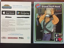 SDCC Fox Animation Throwdown Mobile Game King of the Hill Hank Promo Card W/Code