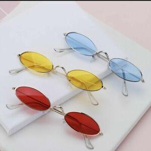Men Women Vintage Small Oval Retro Sunglasses Metal Frame Shades Sunglasses