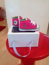 Polo Ralph Lauren Fille Rose & Vert Baskets Chaussures Taille 1.5 Brit Entièrement neuf dans sa boîte