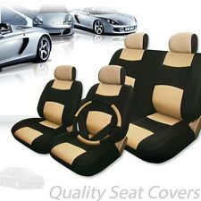PREMIUM BLACK TAN SYNTHETIC LEATHER CAR SEAT STEERING COVERS SET FOR KIA