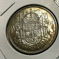 1945 CANADA SILVER 50 CENTS HALF DOLLAR BRILLIANT UNCIRCULATED