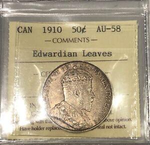 1910 Canada Edwardian Leaves Fifty Cents - ICCS AU-58 - #XDW 598