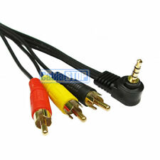 2m RIGHT ANGLE 3.5mm JACK 4 Pole to 3 x RCA CAMCORDER CAMERA to TV AV Cable Gold
