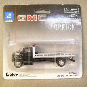 HO 1:87 Boley GMC Topkick Black Flatbed Tow Truck Model Train Die Cast NEW
