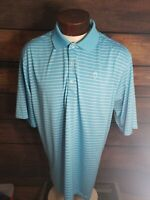 Donald Ross Mens XL Extra Large Blue White Striped Short Sleeve Golf Polo Shirt