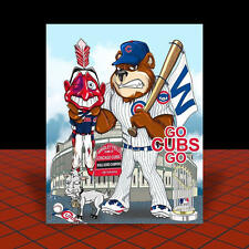 """Chicago Cubs """"GO CUBS GO"""" 2016 World Series Champions POSTER ART artist signed"""