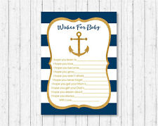 Nautical Gold Anchor Printable Baby Shower Wishes for Baby Advice Cards