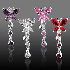 Reverse Butterfly CZ Gem Dangle Belly Ring Pierced Navel Clear Pink Red Purple