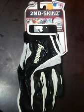 FRANKLIN SPORTS~2ND SKINZ~BASEBALL BATTING GLOVES~ADULT SIZE M~MLB~BLACK & WHITE