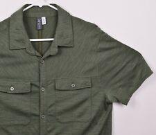 Ibex Merino Wool Men's Sz Medium Green Short Sleeve Button-Front Shirt