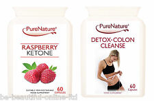 60 Pure Raspberry Ketones 2000mg Daily & 60 Detox Colon Cleanse Diet Slim Pills
