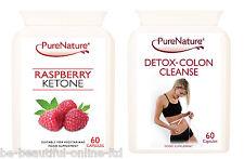 60 Pure Raspberry Ketones 2000mg Daily & 60 Detox Colon Cleanse Diet Slim Pills