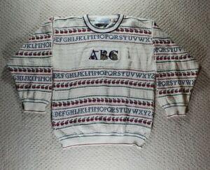 Vintage Chelsea Gardens Cotton Sweater A,B,C Teacher Sweater Size Small