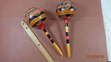 PAIR OF Vintage Haiti Detailed Carved Painted Gourd Shaker Rattle Rumba Maracas