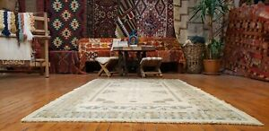 "Bohemian Antique 1930-1940's Wool Pile Muted Dye Oushak Rug 3'10""×6'6"""