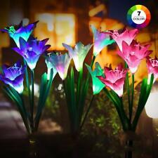 1-20 Outdoor Solar Power Garden LED Lights Lily/Rose Flowers Landscape Lawn Yard