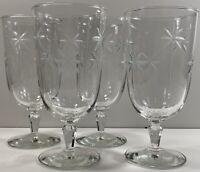 Vintage Etched Goblets - Set Of 4 - Stemmed Atomic Star/Floral Glasses