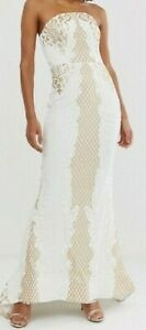 SIZE 6 WHITE & GOLD SPARKLY SEQUIN MAXI DRESS WITH TRAIN ORIGINALLY £235