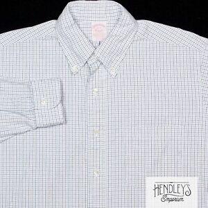 Vintage 90s BROOKS BROTHERS Shirt 15.5-34 Cobalt Blue Black Tattersall Cotton US