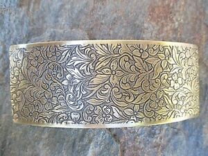 Antiqued Floral & Leaf French Clip Hair Barrette 80MM  NEW Made in USA 6027B