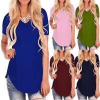 Hot Women's Short Sleeve V-Neck Hem Loose Casual Tee T-Shirt Summer Tunic Tops