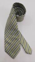 Lanvin Paris Green Striped Silk Tie