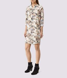 All Saints Avalon Dash Silk Dress Chalk White Size UK 14 BNWT £188