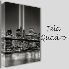QUADRI MODERNI TELA 100X70 NEW YORK SKYLINE BROOKLYN BLACK AND WHITE BIANCO