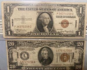 1935A Hawaii Emergency WWII $1 Dollar Silver Certificate Fr.2300 & $20 FR.2305
