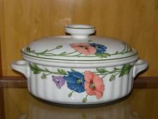 VILLEROY AND BOCH AMAPOLA 3 QT QUART LARGE OVAL COVERED CASSEROLE DISH