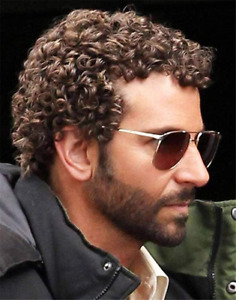 Mens Short Brown Afro Curly Wig for Male Guy Rocker Wig California Halloween new