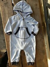 NWT DESIGNER ARMANI BABY BLUE VELOUR BABYGROW 1 PC ROMPER OUTFIT BOY SZ 9M 150+