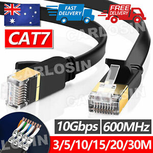 Upto 30M Network Lan CAT7 RJ45 Cord Ethernet Flat Shielded Cable Patch Lead