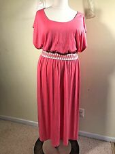NWT BONGO Plus Size 2X Peach Coral Stretch Knit Sun Maxi Dress