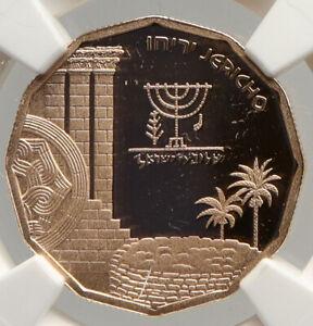 1987 ISRAEL JERICHO MENORAH Old VINTAGE Proof Gold 5 New Shekel Coin NGC i94025