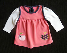 Baby clothes GIRL 0-3m bright pink/navy soft cotton long sleeve dress apples