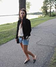 Zara Woman Camoscio giacca M 38 40 pelle nero con tasche