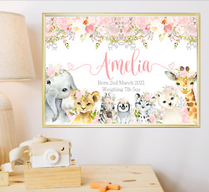 Animals Personalised Name Nursery Print Wall Art Poster Baby Girl Birth Details