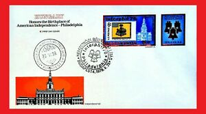 ZAYIX - 1976 Hungary - American Bicentennial FDC - Liberty Bell - Stamp on Stamp