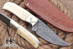 HUNTEX Custom Handmade Damascus Steel 200mm Long CamelBone Hunting Camping Knife