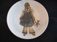 60s 70s Wimborne Studio Pottery Footed Dish Hippy Girl Flares Pinafore Teddybear