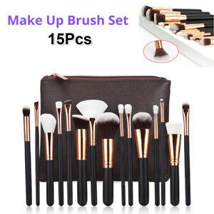 15Pcs Soft Pro Makeup Brushes Set Face Powder Eyeshader Blending Highlight Tools