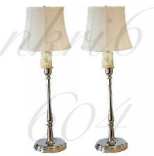 """Pair Of 2 Ralph Lauren Polished Chrome Silver Candlestick Lamp & Shade 33"""" Tall"""