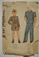 1940s? 1950's Boys shirt pants shorts trousers  pattern 4600 size 10