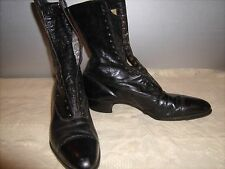 Antique Victorian Ladies Black Leather High Top Lace Up Shoes Boots